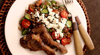 Greek-Style Lentil Salad with Lamb Chops