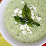 Quick Creamy Broccoli Soup with Feta and Fried Bas...