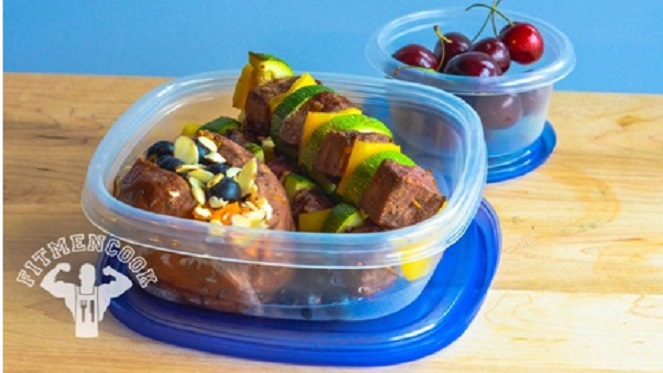 Spicy Flank Steak Kebabs with Sweet Potato, Blueberries and Almonds