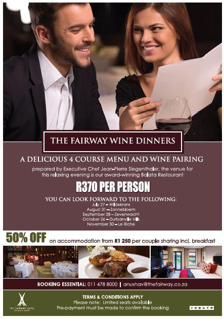 Zonnebloem Wine Dinner – The Fairway Hotel